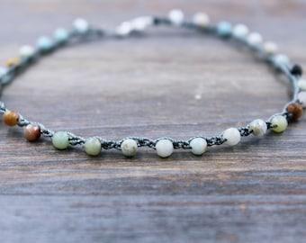 Turquoise Ankle Bracelet - Amazonite Beaded Anklet - Boho Anklet - Boho Jewelry - Bohemian Ankle Bracelet - Turquoise Anklet - Boho Ankle