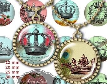 """80% Off Spring Sale 12 mm, 20mm, 30 mm, 1 inch Vintage Digital Crowns Digital Bottle Cap Images 1"""" Round Digital Images Digital Collage Shee"""