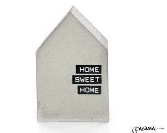 Concrete House 'Home Sweet Home' black pigmented beton house, bookend, geometric modern concrete decor,  house sculpture, quote typography