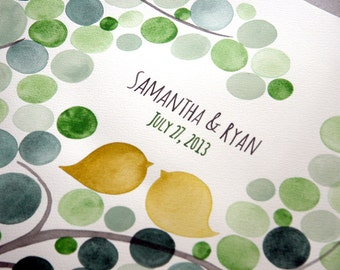 Wedding Alternative Guest Book Tree watercolor painting - Mid century modern style guestbook - Tree of life