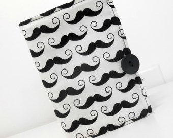 Mustache Mini List Taker Black and White List Taker, Small Shopper with Pen and Paper Pad