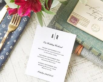 Wedding Agenda Card, Printable Wedding Timeline Letter, Events Card, Modern, Itinerary, Agenda, Hotel Card - INSTANT DOWNLOAD