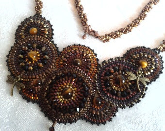 Steampunk Style Handbeaded Necklace with Seed Beads and Swarovski Crystals