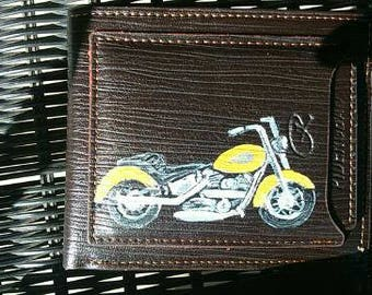 Leather wallet, new, hand painted motor bike
