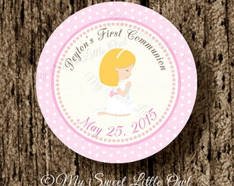 First communion label - First communion sticker - Holy communion tag girl - first communion Cupcake Topper - choose complexion & hair color