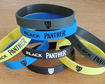 Black Panther Silicone Wristband Bracelets ~ Black Panther Birthday Party Favors Supplies