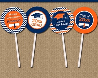Graduation Cupcake Toppers - Graduation Party Decorations - Graduation Party Ideas - Graduation Printables - Orange Navy Cupcake Toppers G3