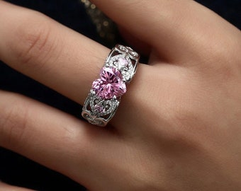 PINK CRYSTAL HEART Ring  Size 11 Womens