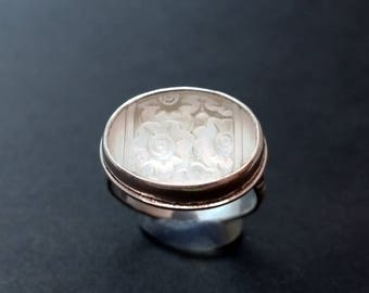 Art Deco Vintage Glass Ring Size 8 - 8.25
