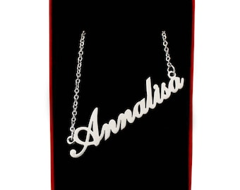 ANNALISA - Italic Silver Tone Name Necklace - Personalized Jewelery - Free Gift Box & Bag - Christmas Gift For Her Celebration