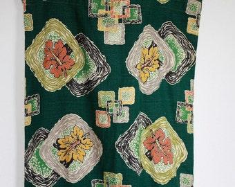 Vintage 1940's / 1950's  Barkcloth Curtain Panel With Autumn Print