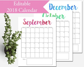 "2018 Calendar Printable, Editable, Monthly Pages, Letter Size 8.5"" x 11"" Instant Download"