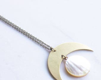 Gold Moon Phase and Mother of Pearl Necklace, crystal necklace, gold moon necklace, long statement necklace, boho necklace, lunar phase