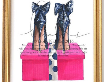 Sapphire Heights (Fashion Illustration Print)