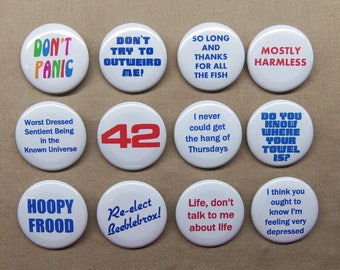 """Hitchhiker's Guide to the Galaxy 12 Button Set 1.25"""" Douglas Adams HHGG Marvin Zaphod Hoopy Don't Panic 42 +!"""