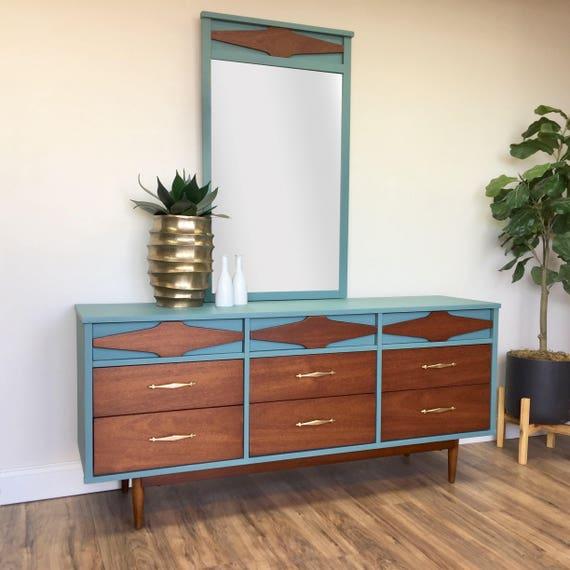 Mid Century Modern Lowboy Dresser - Painted Furniture - Teal Dresser - Vintage Bedroom Furniture - Green Triple Dresser - Dressing Table