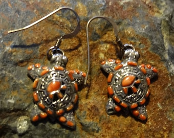 Turtle Earrings Spiny Oyster Shell  925 Sterling Silver