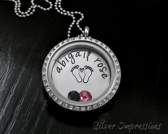 Floating Locket / New Mom Locket / Grandma Necklace / Hand Stamped Jewelry