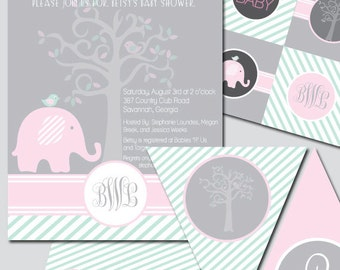 Whimsical Bird Tree Baby Shower Invitation and Decoration