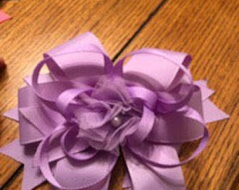 7 inch lavender stacked bow