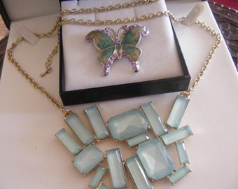 Stunning Vintage Butterfly Brooch Plus Lovely Necklace