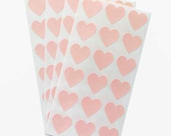 Pastel pink heart sticker seals - set of 54