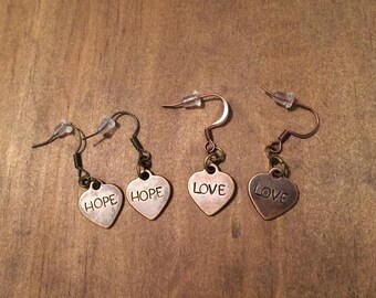 Hope/Love Antique Copper Heart Earrings, Hand Stamped Earrings, Hope/Love Earrings, Womens Jewelry, Love Jewelry, Hope Jewelry