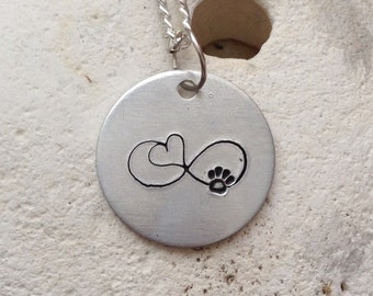 Infinity heart and paw necklace, dog lover, cat lover, animal lover jewellery