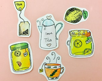 Tea sticker set, Tea lover planner stickers, tea planner stickers, notebook stickers, tea planners, tea cup stickers, tea scrapbook stickers