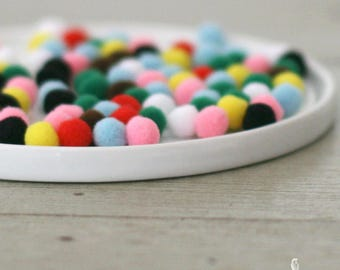 100 Muticolor Miniature Craft Acrylic Pom Poms 7 mm