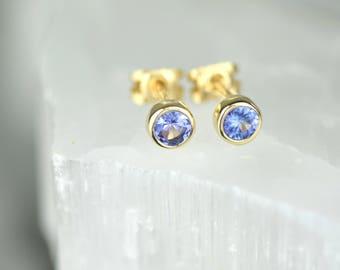 Handmade 9ct Gold Tanzanite Studs | December Birthstone Earrings | December Birthday Gift | Gift For Her | Tanzanite Earrings | Alison Moore