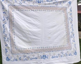 Vintage Startex White with Blue and Grey Floral Print and Polka Dots Tablecloth