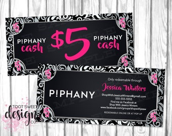 Piphany Cash Dollars, Piphany Money, Coupon, Piphany Bucks / Gift Certificate Card, Small Business Black Silver Swirls, Hot Pink PRINTABLE