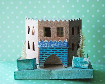 Vintage Early 60s Pink Putz House Christmas Holiday Decoration Japanese Cardboard House Mica Glitter Xmas