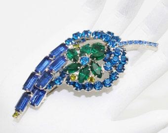 Juliana Brooch Sapphire Blue and Emerald Green