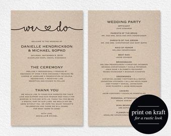 Wedding Programs Instant Download, Printable Wedding Program, Wedding Printable Template, Wedding Printable Card, PDF, Kraft #BPB140_3