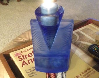KOSTA BODA Ice Age cobalt art glass CANDLE stick holder. Perfect for votive candles.