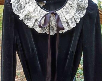 70s black velvet dress with white lace collar.