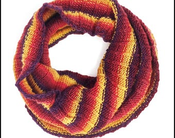 Hand-Knit Rustastic Striped Cowl