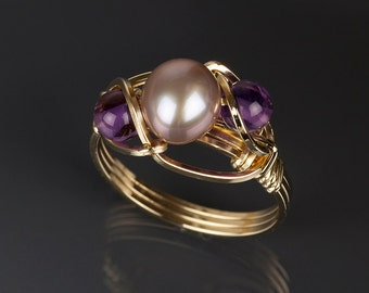 Purple pearl with amethyst ring, Gold, Argentium silver, Pearl ( June birthstone ), Amethyst, Pearl jewelry,Art jewelry,Wire wrapped jewelry