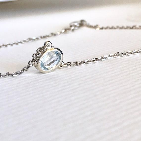 Oval Aquamarine Bezel Necklace Sterling Silver