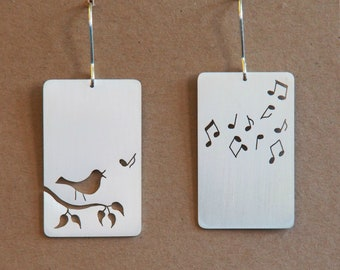 Mr Blackbird Singing, sterling silver earrings, handmade, birds, animals, silver