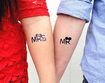 Mr. and Mrs. Disney Temporary Tattoos- GeekTat