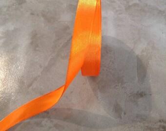 Iridescent - 15 mm - Tangerine orange satin ribbon
