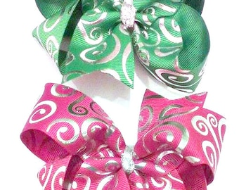 Christmas Hair Bows , Red Swirl Bow , Green Swirl Bow , Red and Silver Bow , Green and Silver Bow , Silver Hair Bow , Hair Bow Set
