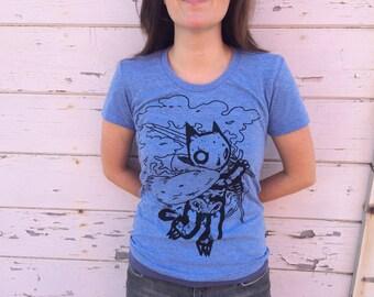 Ladies Skeleton Shirt Blue
