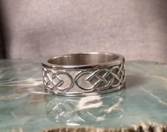 8mm Sterling Silver Celtic Wedding Band RF454