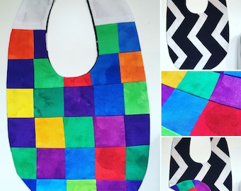 Quilted cotton & flannel reversible baby bib