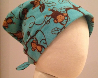 Jaye Children's Flannel Head Cover, Girl's Cancer Headwear, Chemo Scarf, Alopecia Hat, Head Wrap, Cancer Gift for Hair Loss - Crazy Monkeys