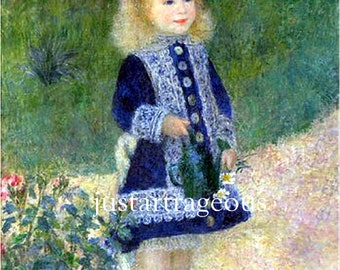 "Auguste Renoir-A Girl with a  Watering Can-French garden print, canvas art print, antique art prints, floral art, 11 x 14"" canvas art print"